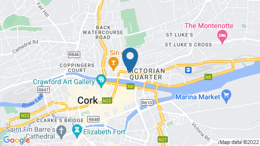 Isaacs Hotel Cork City Map