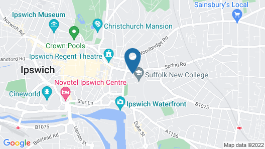 Sanitized, Luxury Serviced Apartment, Ipswich With two Beds & a Roof top Terrace Map