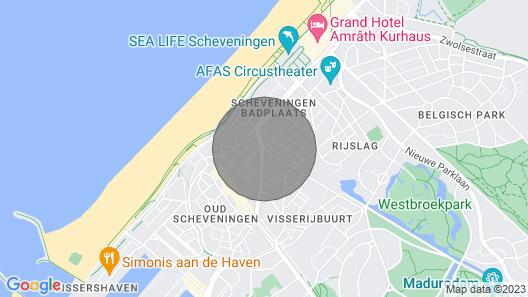 Sea Breeze 2 room loft apt with terrace 3min to Scheveningen Beach Map