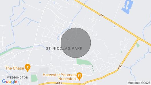 6 bedroom house, sleeps 11, parks 4, Nuneaton Map