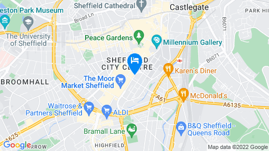Jurys Inn Sheffield Map