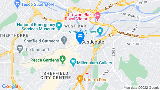 easyHotel Sheffield Map