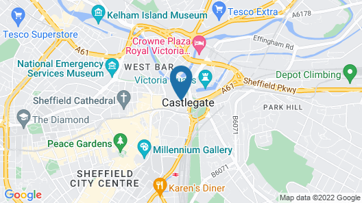 Travelodge Sheffield Central Map