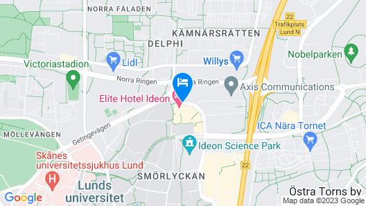 Elite Hotel Ideon, Lund Map
