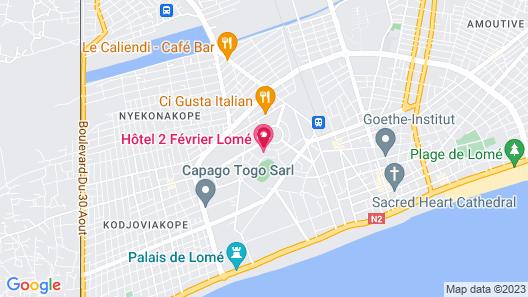 Hotel 2 Fevrier, Lome Map