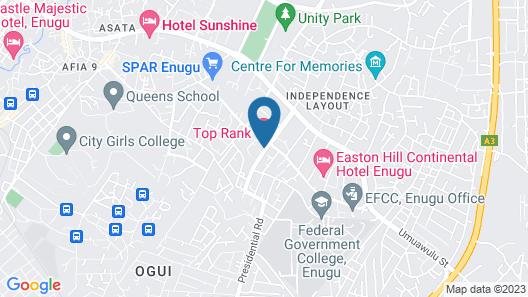 Top Rank Hotel Galaxy Enugu Map