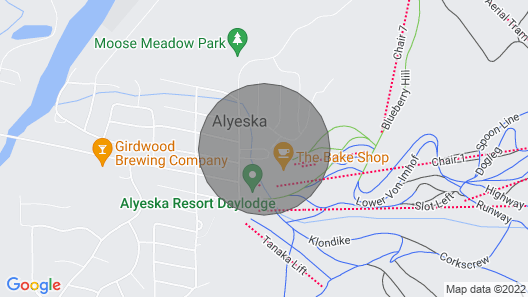 Alyeska Base View Studio Condo; Location Location! Park And Walk To Everything Map