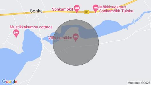 Moderni Villa Lumikko ulkokylpytynnyrillä. Map