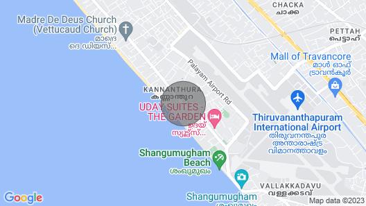 Mary Land Homestay,  Deluxe Villa.  Near Trivandrum Airport, Beach Map