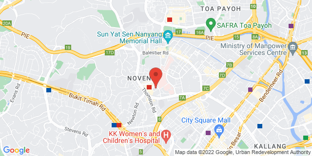 Map showing Singapore Cord Blood Bank Admin Office