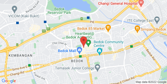 Map showing Bedok Public Library