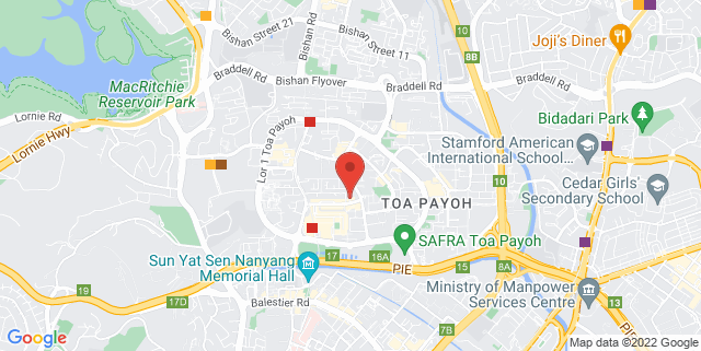 Map showing Toa Payoh Central Community Club