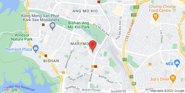 Map showing Bishan Training Spot for Parkour