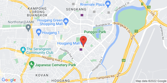 Map showing Hougang Mall