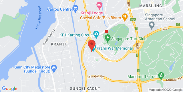 Map showing Kranji War Memorial