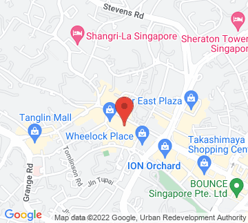 Map showing Hilton Singapore