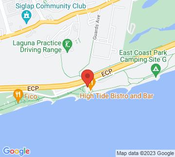 Map showing Myra's Beach Club
