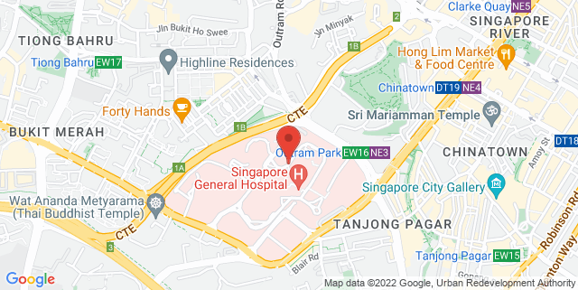 Map showing Singapore National Eye Centre