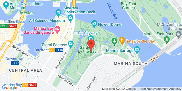 Map showing Cooled Conservatories - Gardens by the Bay