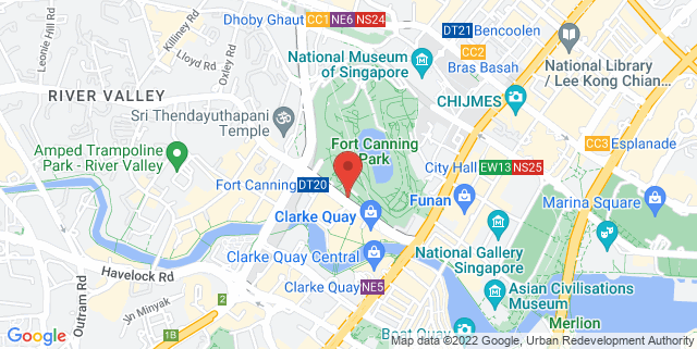 Map showing Raffles House, Fort Canning Park