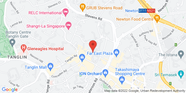 Map showing Pan Pacific Orchard Hotel