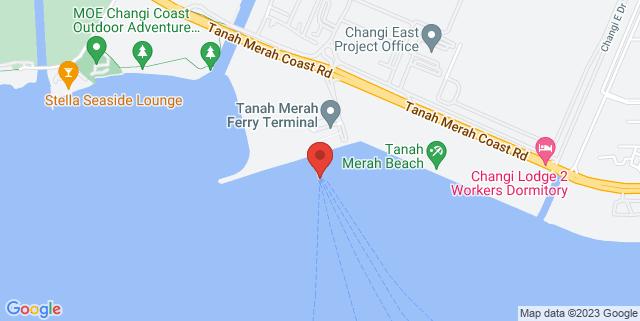 Map showing Tanah Merah Ferry Terminal