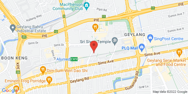 Map showing Geylang East Public Library