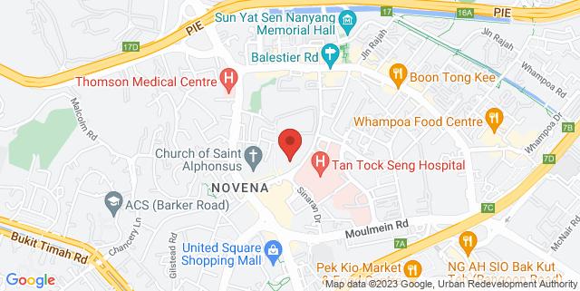 Map showing Mount Elizabeth Novena Specialist Centre