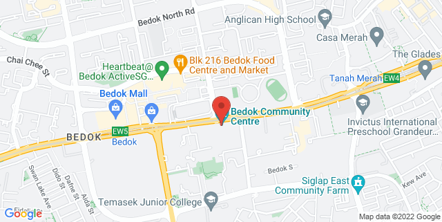 Map showing Bedok Community Centre