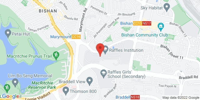 Map showing Raffles Institution JC Lecture Theatre 1
