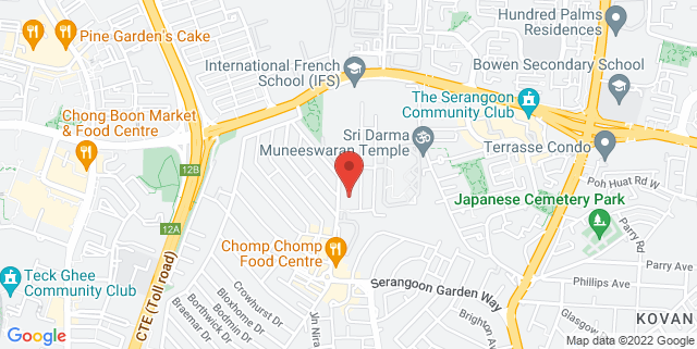 Map showing Serangoon Gardens Country Club