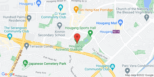 Map showing Hougang Sports and Recreation Centre