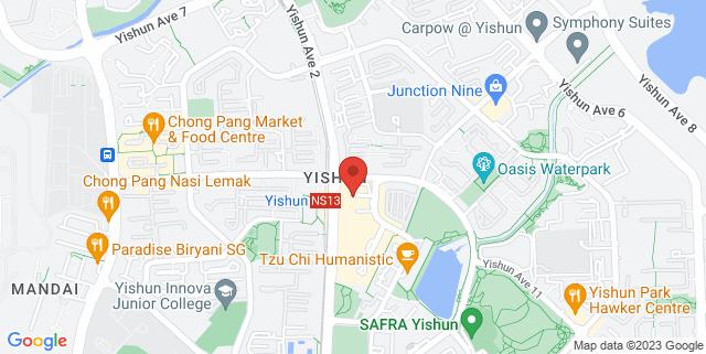 Map showing Yishun Public Library