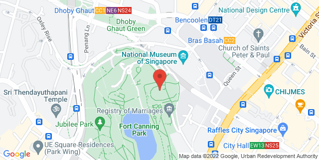 Map showing Fort Canning Green
