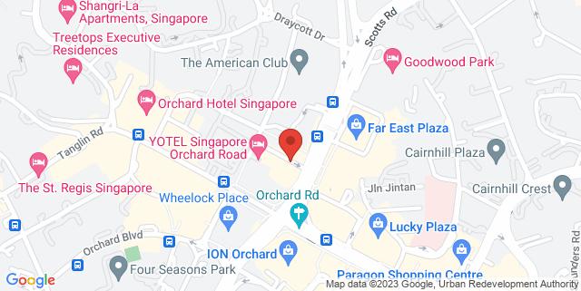 Map showing Yotel Singapore