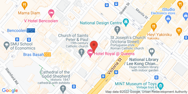 Map showing Hotel Royal@Queens