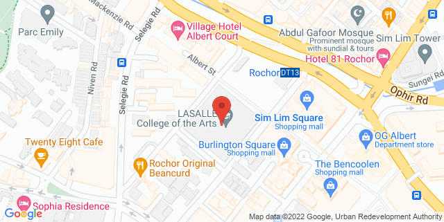 Map showing Lasalle College of The Arts