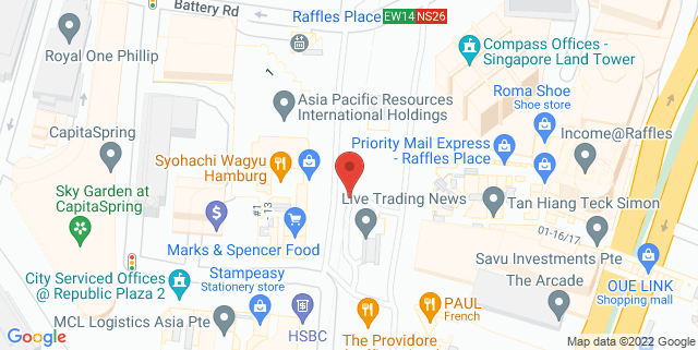 Map showing Raffles Place Park