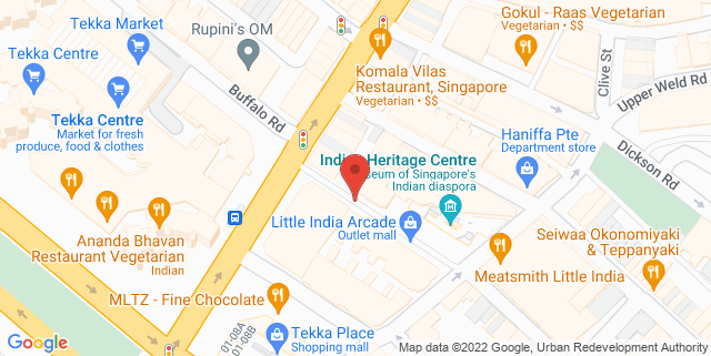 Map showing Indian Heritage Centre