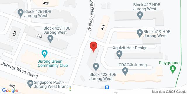 Map showing Block 422 HDB Jurong West