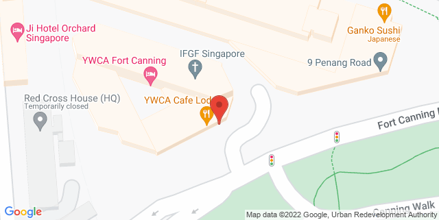 Map showing YWCA Fort Canning Lodge