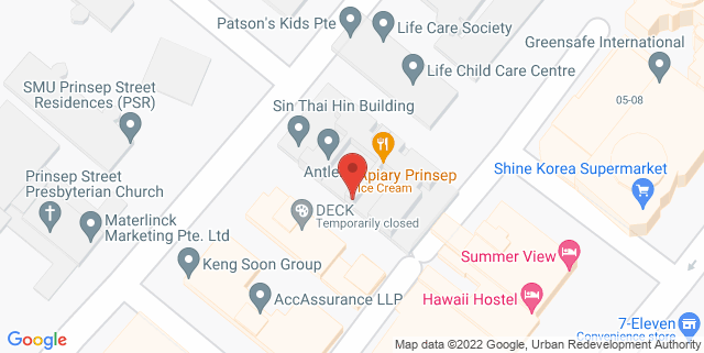 Map showing The Hub Singapore