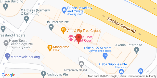 Map showing Village Hotel Albert Court