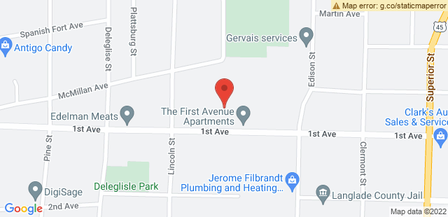 Map of 1014 First Ave, Antigo, WI 54409