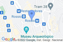 Rossio Square in Lisbon, location map