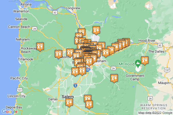 A google map denoting all 85 things to do catalogued for May in and around Portland