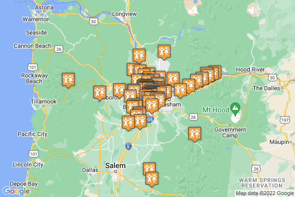 A google map denoting all 79 things to do catalogued for March in and around Portland