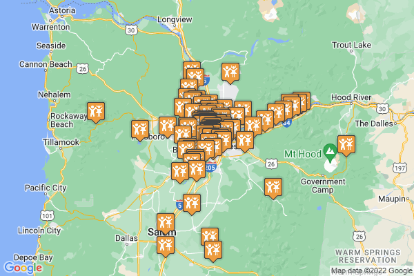 A google map denoting all 95 things to do catalogued for September in and around Portland