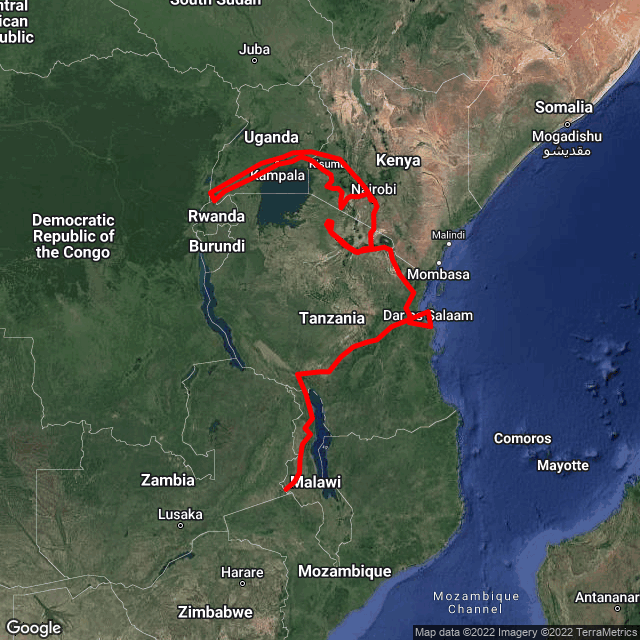 Map of Nairobi to Joburg via Gorillas