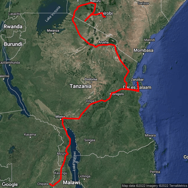 Map of Nairobi and Gameparks to Joburg